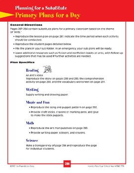 Primary Lesson Plan for a Substitute