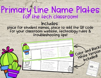 Primary Line Cactus Name Plates - Technology Edition!