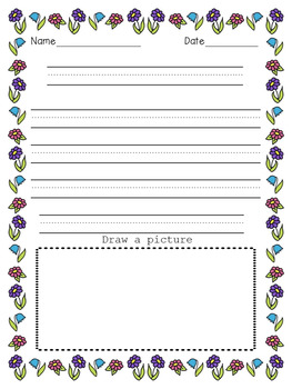 Primary Line Writing Paper -  (with /and without ) Drawing Frames