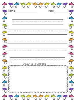 SPRING DOODLE BORDERS - 50 Pages  Primary Line Writing Paper - Set 2