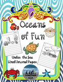 Primary Lined Journal Writing Paper for Sea Life / Ocean A