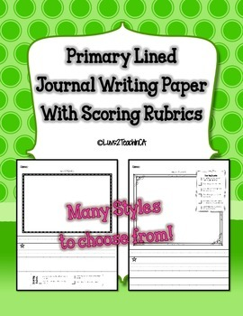 Primary Lined Journal Writing Paper *with Teacher or Student Checklist*