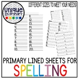 Primary Lined Spelling Sheet: Multiple Sizes and Options!