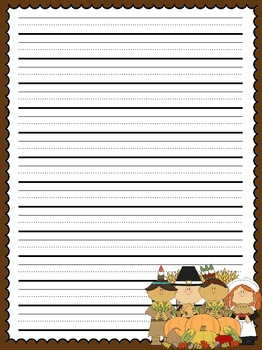 Primary Lined Thanksgiving Writing Paper by Allison Chunco | TpT