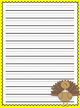 Primary Lined Thanksgiving Writing Paper