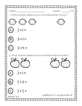 Primary Math Assessments: Addition and Subtraction to 10
