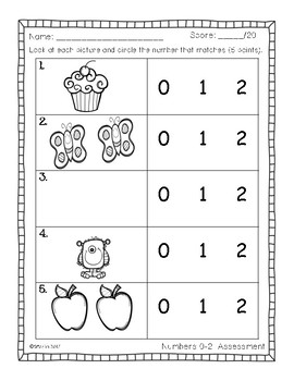 Primary Math Assessments: Numbers 1-10