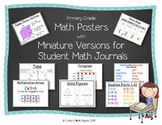 Variety of Primary Math Posters and Math Journal Charts