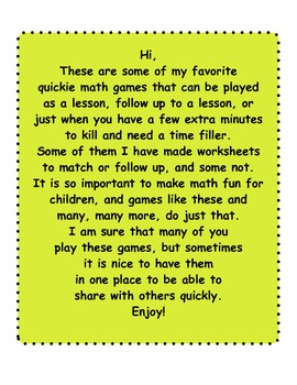 Math Games for Primary Grades