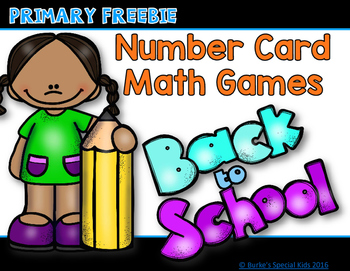 Number Cards for Math Games Freebie