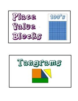 Primary Math Manipulative Bin Labels