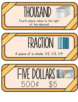 Primary Math Word Wall - Canadian Version