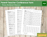 Primary Montessori Parent-Teacher Conference Form