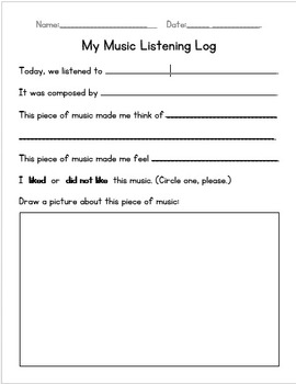 Primary Music Listening Worksheet