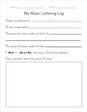 Primary Music Listening Worksheet