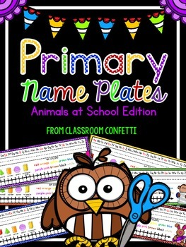 EDITABLE Primary Name Plates {Animals at School Edition}