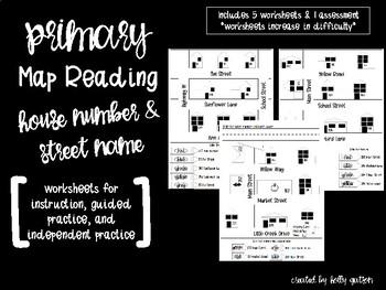 Primary Neighborhood Map Worksheets - House Numbers & Street Names
