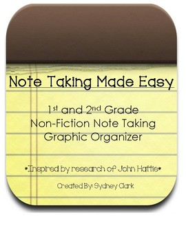 Primary Non-Fiction Note Taking Graphic Organizers