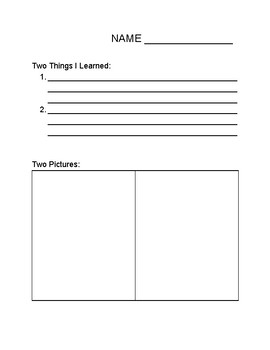Primary Note-taking Sheet