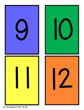 Primary Number Cards in Color and Black and White