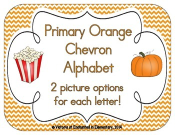 Primary Orange Chevron Alphabet Cards