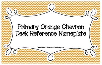 Primary Orange Chevron Desk Reference Nameplates