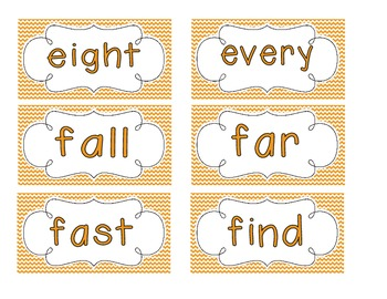 Primary Orange Chevron Word Wall Cards