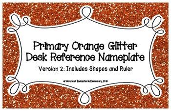 Primary Orange Glitter Desk Reference Nameplates Version 2