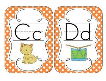 Primary Orange Polka Dot Alphabet Cards