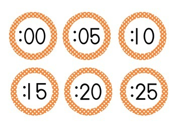 Primary Orange Polka Dot Clock Numbers