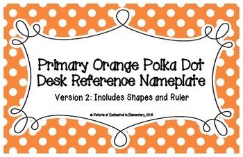 Primary Orange Polka Dot Desk Reference Nameplates Version 2