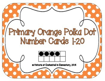 Primary Orange Polka Dot Number Cards 1-20