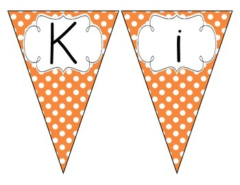 Primary Orange Polka Dot Welcome Pennant