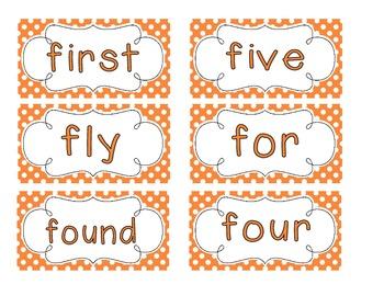 Primary Orange Polka Dot Word Wall Cards