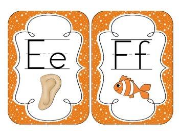 Primary Orange Starry Skies Alphabet Cards