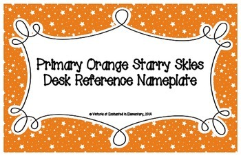 Primary Orange Starry Skies Desk Reference Nameplates