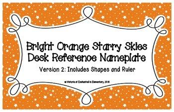 Primary Orange Starry Skies Desk Reference Nameplates Version 2