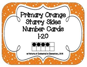 Primary Orange Starry Skies Number Cards 1-20