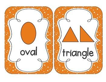 Primary Orange Starry Skies Shape Cards