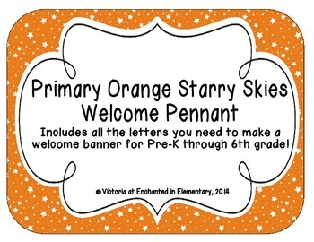 Primary Orange Starry Skies Welcome Pennant