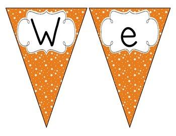 Primary Orange Starry Skies Welcome Pennant