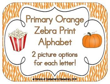 Primary Orange Zebra Print Alphabet Cards