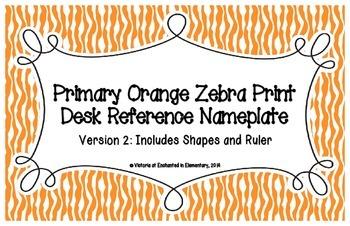 Primary Orange Zebra Print Desk Reference Nameplates Version 2