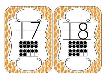 Primary Orange Zebra Print Number Cards 1-20