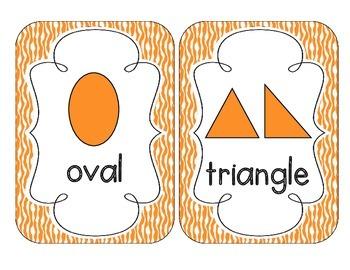 Primary Orange Zebra Print Shape Cards