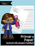 Primary Paper (Vertical Lines with Student Checklist)
