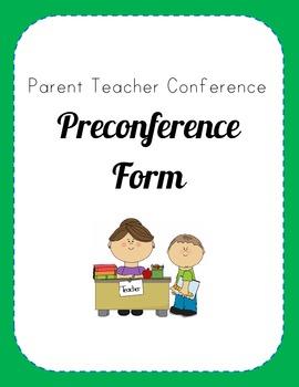Primary Parent Teacher Pre-Conference Form