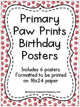 Primary Paw Prints Birthday Posters