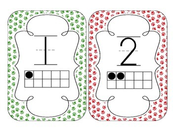 Primary Paw Prints Number Cards 1-20