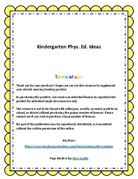 Kindergarten Phys. Ed. Ideas